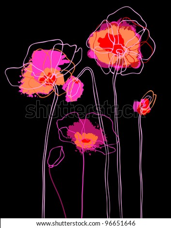 Pink  poppies on a black background - stock vector