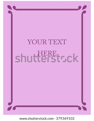 Pink purple border frame deco vector art simple line corner - stock vector