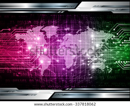 pink purple green Light Abstract Technology background for computer graphic website internet business.circuit.illustration. infographics. binary code. www.vector.motion move blur. World map Global