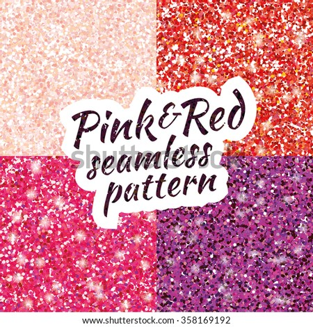 Pink, purple, red sparkles texture, shine and glossy confetti. Pink and red glitter for texture or background, for xmas, year, new, holiday, festive, event. Pink and red sparkles vector background. - stock vector