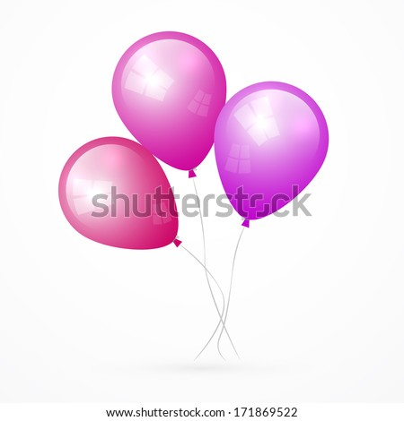 Pink, Purple Vector Balloons Isolated on White Background - stock vector