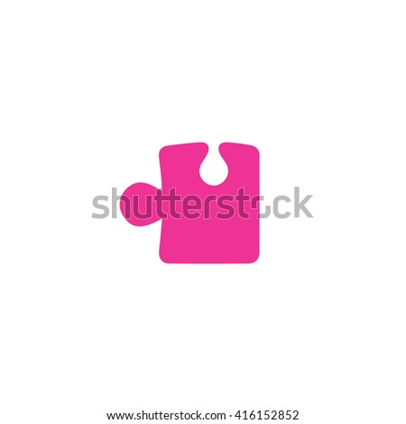 Pink puzzle icon vector illustration. - stock vector