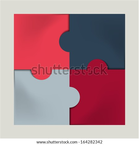 pink, red, blue and gray colored plastic puzzle infographic concept  - stock vector
