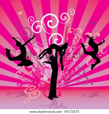 pink red dance people - stock vector