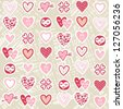 pink red different heart designs on messy beige background romantic seamless pattern - stock photo