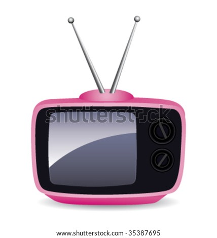 Pink retro television. Vector illustration. - stock vector