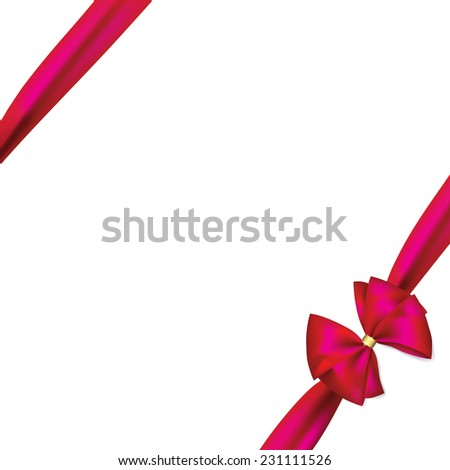 pink ribbon and bow - stock vector
