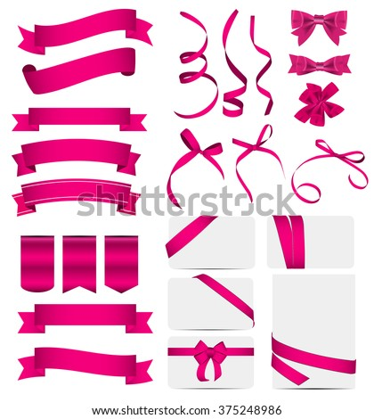 Pink Ribbon and Bow Set. Vector illustration EPS10 - stock vector