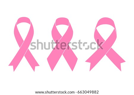 Pink Ribbons in flat style on blank background
