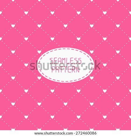 Pink romantic wedding geometric seamless pattern with hearts. Wrapping paper. Scrapbook paper. Tiling. Vector illustration. Background. Graphic texture  for design. Valentines day. - stock vector