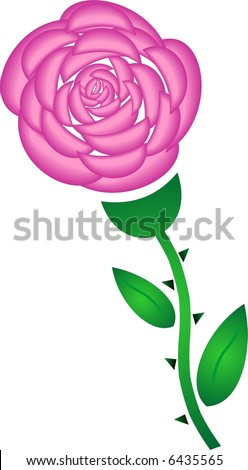 Pink rose - stock vector
