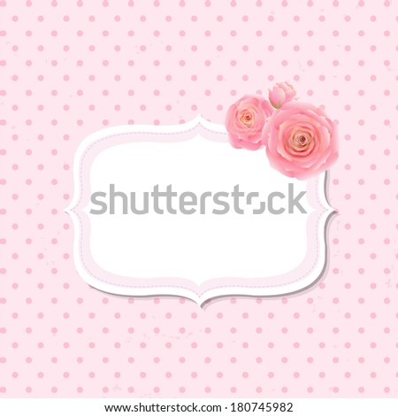 Pink Rose Label, With Gradient Mesh, Vector Illustration