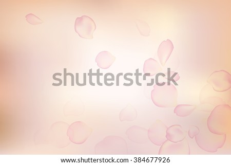pink rose petals in soft color and blur style vector background  - stock vector