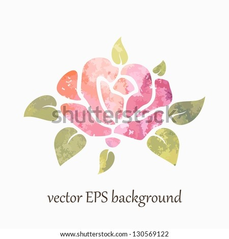 Pink rose. Vector watercolor background. - stock vector