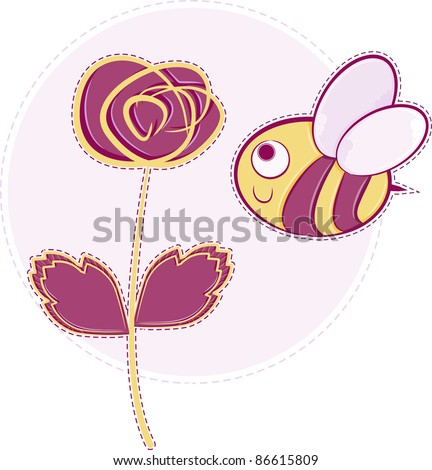 Pink rose with bee - stock vector