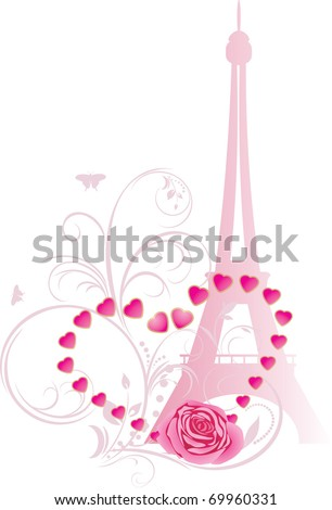 Pink rose with heart and Eiffel tower. Holiday composition for Valentines day. Vector - stock vector