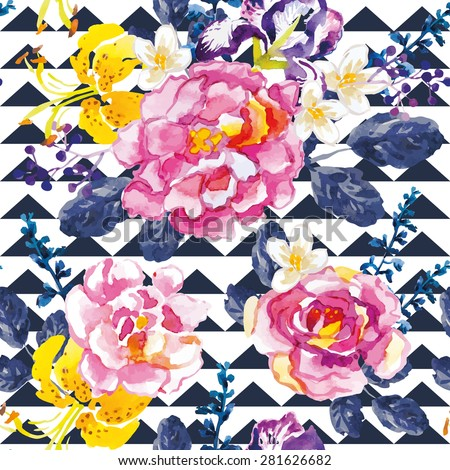 Pink roses and yellow lilies with dark blue leaves and floral elements on the graphic background. Watercolor seamless pattern with summer flowers. Roses, irises and lilies. - stock vector