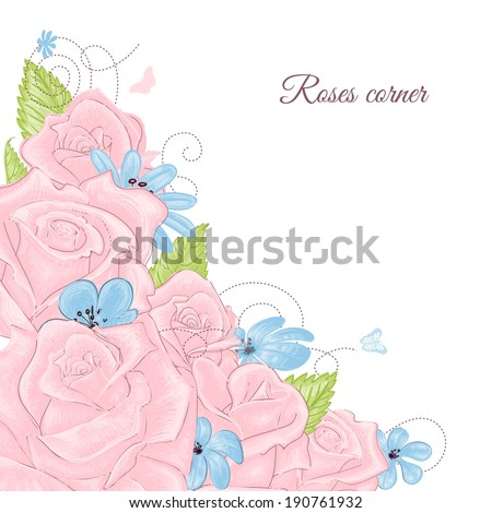 Pink roses bouquet corner decoration over white background - stock vector