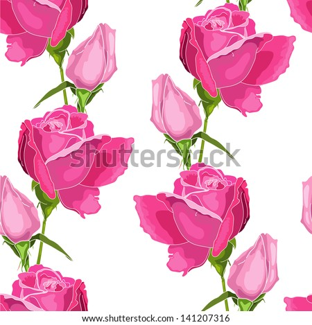 Pink roses on the white  background - stock vector