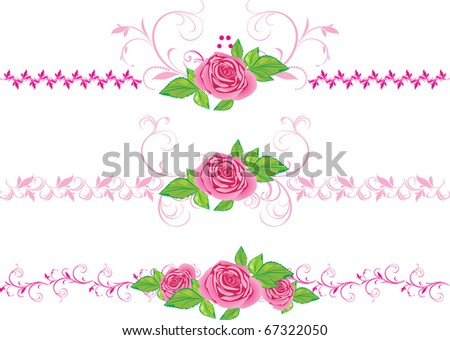 stock-vector-pink-roses-with-ornament-th