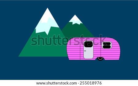 Pink RV Mountains - stock vector