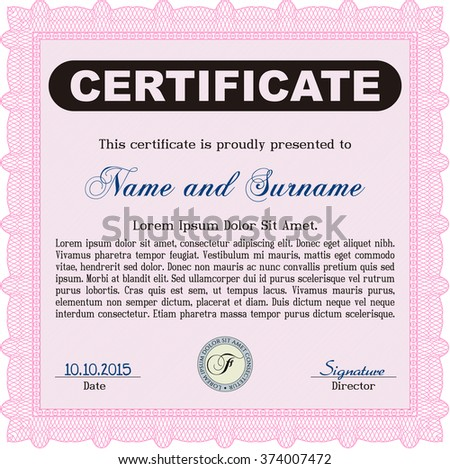 Pink sample certificate modern design frame stock vector hd royalty pink sample certificate modern design frame certificate template vector with linear background thecheapjerseys Image collections
