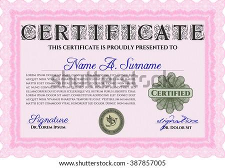 Pink Sample Certificate Diploma Elegant Design Stock Vector 2018