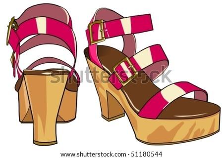 pink sandals - stock vector