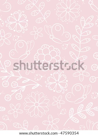 Pink seamless background with butterflies, flowers and leaves.  Vector illustration - stock vector