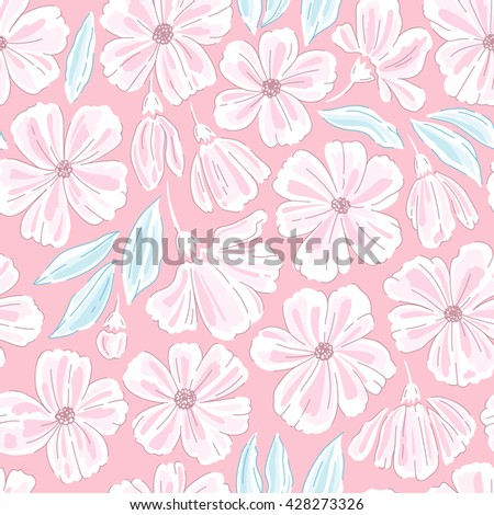 Pink seamless pattern with flowers. Vector illustration - stock vector