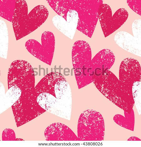 pink seamless pattern with grunge hearts - stock vector
