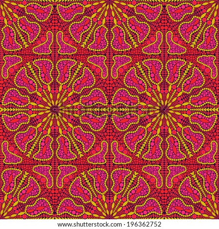 Pink Seamless Pattern  with Oriental Kaleidoscopic Ornament - stock vector