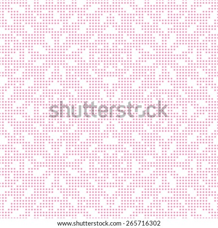 Pink seamless texture halftone lace floral pattern on the white background - stock vector