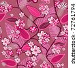 Pink seamless vector wallpaper with hand drawn flowers - stock vector