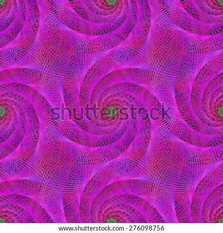 Pink seamless wired fractal spiral design background - stock vector