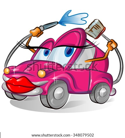 pink sexy car wash cartoon isolated on white - stock vector