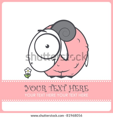 Pink sheep cartoon character. Vector illustration. - stock vector