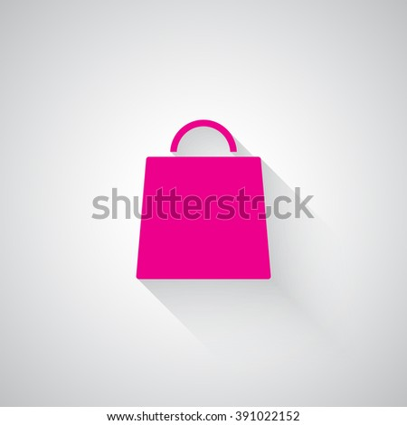 Pink Shopping Bag web icon on light grey background