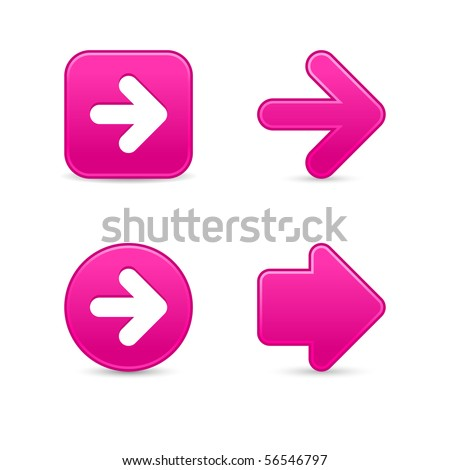 Pink smooth arrow sign web 2.0 buttons with shadow on white background - stock vector