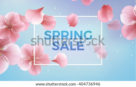 Pink soft floral background with frame and Spring Sale text, vector illustration. Modern style vector soft spring illustration background - stock vector