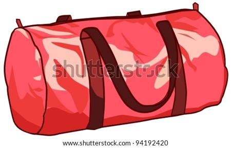 pink sports bag - stock vector