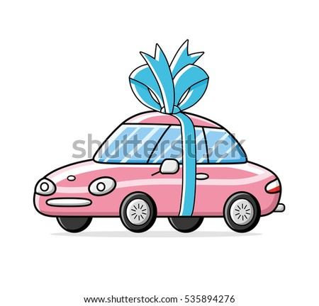 Pink sports car gift with a blue bow and ribbon isolated.