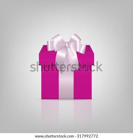 Pink square gift box with white ribbon and bow Vector EPS10 illustration.  - stock vector