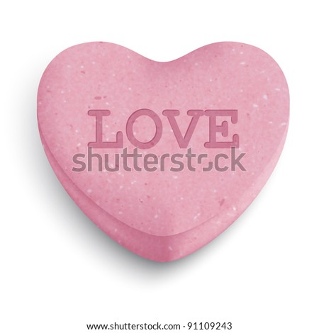 Pink sugar heart candy with love word - stock vector