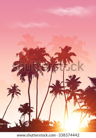 Pink sunset palms silhouettes vector poster background - stock vector