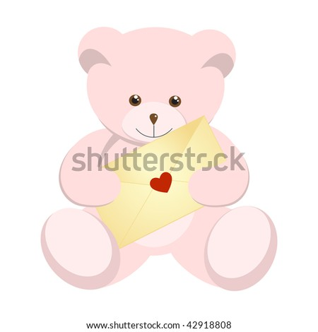 Pink teddy bear for Valentine's Day. Vector illustration.
