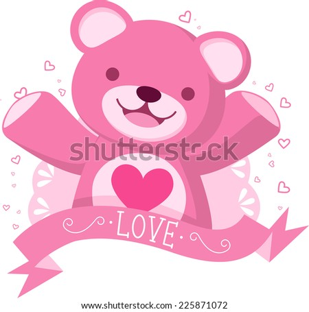 Pink Teddy bear with love banner vector illustration - stock vector