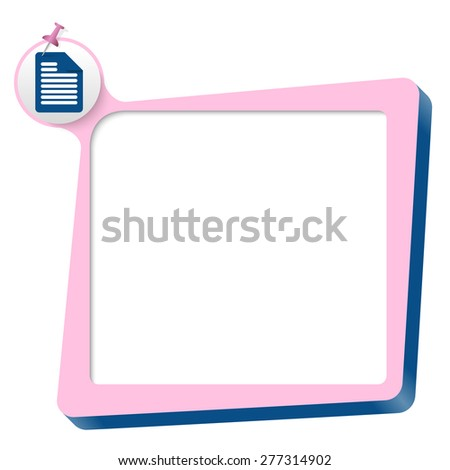 pink text box and blue document icon - stock vector