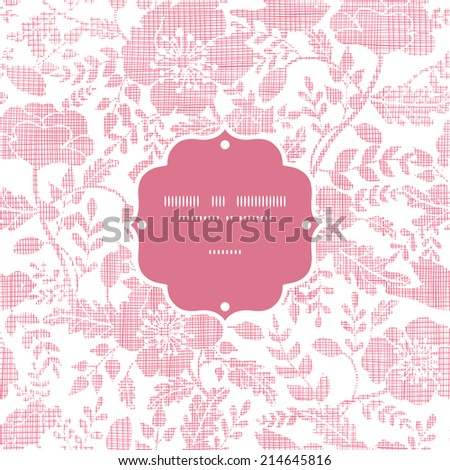 Pink textile birds and flowers frame seamless pattern background - stock vector