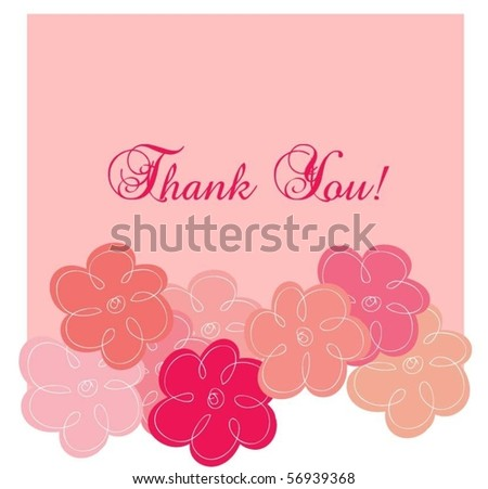 Pink thank you greeting card - stock vector